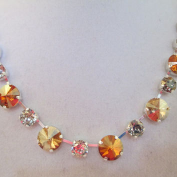 Swarovski CRYSTAL NECKLACE, amber glow 12mm, and 8mm, shades of amber, designer inspired, unique, exquisite, high sparkle, bridal