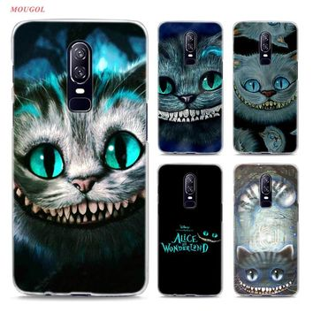 Transparent Hard Case For Oneplus 6 Alice in Wonderland Cheshire Cat Printing Drawing Hard Phone Cases Cover For Oneplus 6