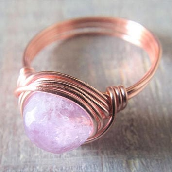 Rose Gold Amethyst Ring - Wire Wrapped Ring - Lavender Ring - February Birthstone Jewelry - Rose Gold Rings - Purple Stone Ring - Amethyst