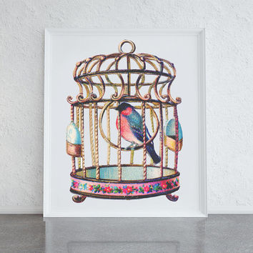 Antique birdcage print, girly art, bedroom decor art, summer themed art for the home or office, uk art, vintage style bird cage, cute print