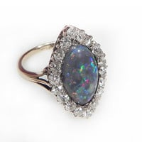 Antique Engagement Ring Opal And Diamond Engagement Ring 5ct Black Opal Ring Art Deco Marquise 1.25ct Old Cut Diamonds 18K Gold