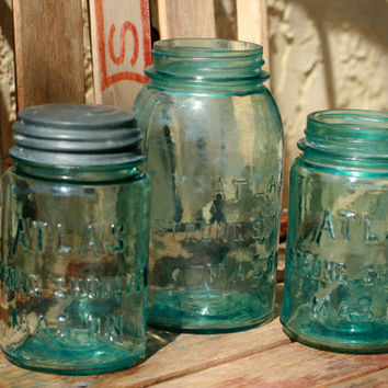 Set of 3 Vintage Blue Atlas Jars,  Mason Jars.
