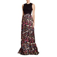 Alice + Olivia Womens Drewcella Floral Print Jewel Neck Maxi Dress