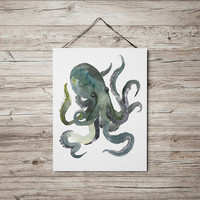Octopus print Nursery art Watercolor poster ACW14