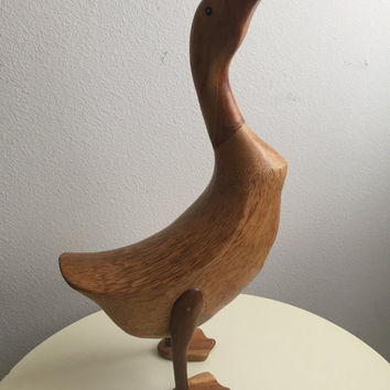 Nice Vintage Teak Wooden Figural DUCK Goose Door Stop or decorative figurine