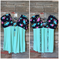 Floral Criss Cross Back Top: Mint