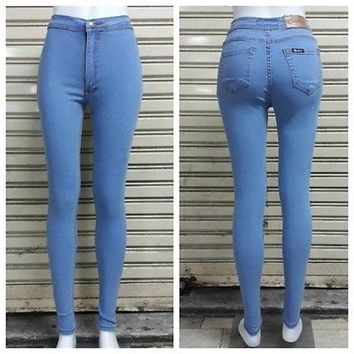 New! High Waist Skinny Jeans Women Blue White Light Classic Jeans Denim Pants Ho