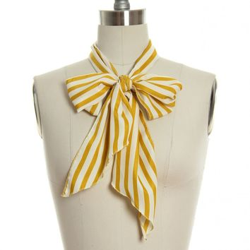 Sweet as Candy Striper Scarf in Mustard