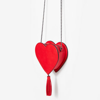 Heart Tassel Cross Body Bag
