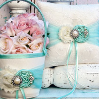 Flower girl basket .. Ring bearer pillow .. YOU DESIGN .. Tiffany blue Flower girl basket and Ring bearer pillow set