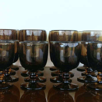 Mid Century Barware- Hoffman House Brown by Imperial Glass Ohio - Mid Century Drinking Glass Set - Wine Glasses - Stemware - Set of 16