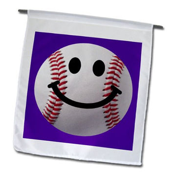 InspirationzStore Smiley Face Collection - Baseball Smiley Face - Sporty Sports fan smilie red and white ball on dark purple background - 12 x 18 inch Garden Flag (fl_76658_1)