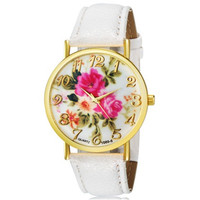 WoMaGe 1089-6 Fashionable Women's Analog Quartz Wrist Watch with Flower Pattern & Faux Leather Band (White)