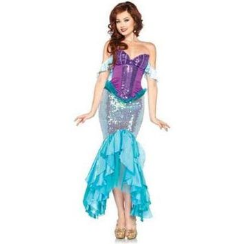 Disney Adult Deluxe Princess Ariel Costume, Little Mermaid