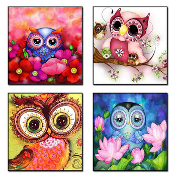 5D Diy Diamond Embroidery Paintings Rhinestone Pasted diy Diamond painting Free Shipping printed classic Bird Ccolor Owl