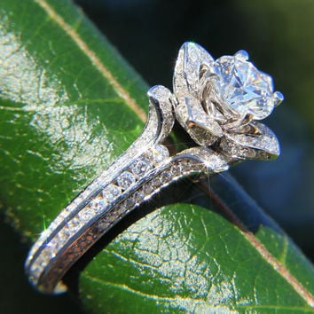 UNIQUE Flower Rose Diamond Engagement or Right Hand Semi mount Ring - 1.50 carat - 14K white gold - wedding - brides - fL01