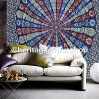 Queen Indian Mandala Bedspread Tapestry Wall Hanging Hippie bohemian Ethnic Art