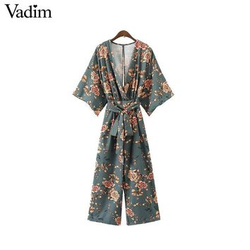 Vintage floral V neck jumpsuits wide leg pants sashes backless pleated fashion rompers casual