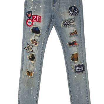 RIP & TEARS PATCHED DENIM