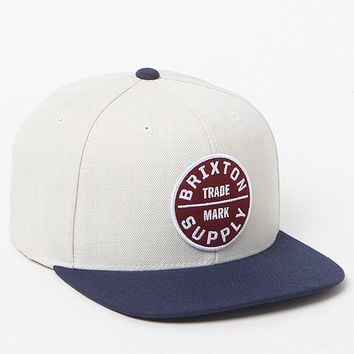 Brixton Oath III White & Blue Snapback Hat - Mens Backpack - Cream/Navy - One