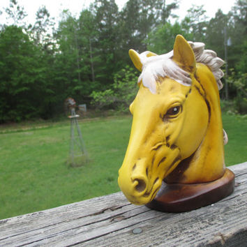 Mid Century Yellow Horse Planter--Vase--Made in Japan--Stallion--Tabletop Centerpiece--Floral Display--Succulent Planter Pot--Mid Century