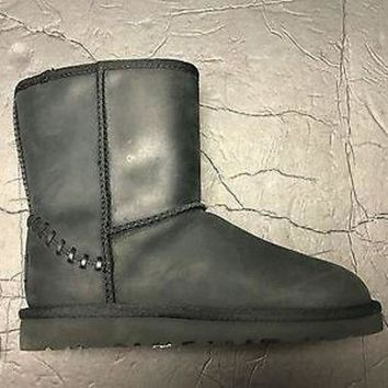 DCCK8X2 Brand New UGG Australia Girl's Boy's Wool Lining Black Leather Tall Boot US 3