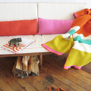 SALE Wool BLANKET THROW by Erin Flett, Limited Number, Orange or Navy Felted Soft wool, Heirloom Quality, 50x60