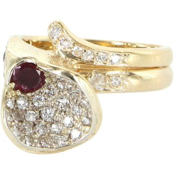 Vintage Calla Lily Diamond Ruby Cocktail Ring 14 Karat Yellow Gold Estate Jewelry
