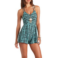STRAPPY BACK TRIBAL PRINT ROMPER