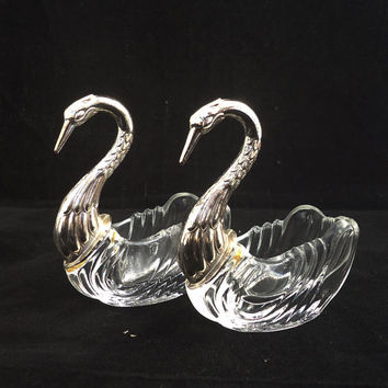 Vintage Crystal and Silver Plated Swan Mustard pot and Salt Sellar, Swan Cruet Set, Swan Mustard Pot and Salt Seller with Spoon
