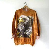 Vintage trashy patriotic sweatshirt. Bald eagle sweater. Oversized sweatshirt.