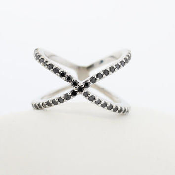 14kt Gold Diamond Criss Cross X Ring 14K from MichaelGabriels on