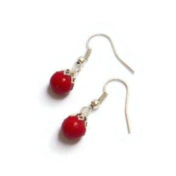 Tiny Red Christmas Ornament Drop Earrings