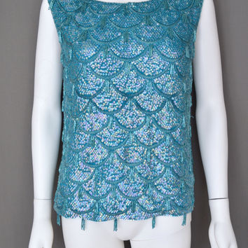 Full Sequin Beaded Fringe Flapper Top Evening Teal Blue Green Tank Shell Vtg L (Vintage)