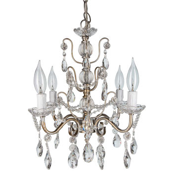 Chic 4-Light Swag Chandelier | Silver | Madeleine Collection