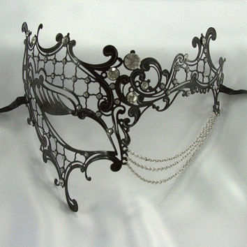 Theatrical Black Phantom Venetian Princess Metal Filigree Laser Cut Masquerade Mask w/ Chains