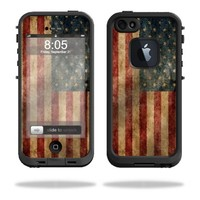 Mightyskins Protective Vinyl Skin Decal Cover for LifeProof iPhone 5 Case 1301 fre wrap sticker skins Vintage Flag