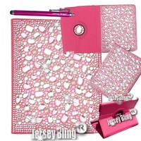 PINK BLING iPad 2 3 or 4 3D Gems Crystals Pearls & Rhinestone PU Leather Case w/Bult in Stand & Stylus