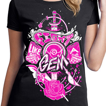 Fight Like A Gem T-Shirt  Presale - Steven Universe Shirt - Crystal Gems T-Shirt - Two Color Version