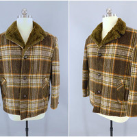 Vintage 1980s Flannel Coat / 80s Men's Plaid Jacket / JC Penney Towncraft Vintage Menswear / Brown Plaid Sherpa Lining / Lumberjack Style