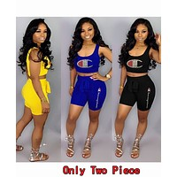 Champion Fashionable Women Casual Diamond Sleeveless Vest Top Shorts Set Two-Piece