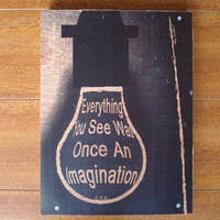 Wood Quote Art Image Transfer Once An Imagination by ckrthoughtbox