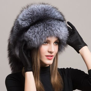 Fox Fur Hat Russian Furry Cap w/Fox Fur Tassel