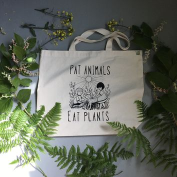 Pat Animals Eat Plants Recycled Cotton Tote