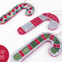 Mosaic Candy Cane Christmas  Ornaments -- Set of Three