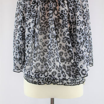 Girls IZ Amy Byer Batwing Leopard Print Blouse, size Medium