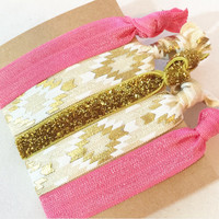 Pretty Coral Gold Glitter Aztec Cream Tribal Metallic Hair Tie Set of 5 Five Ties Hippie Crease Free