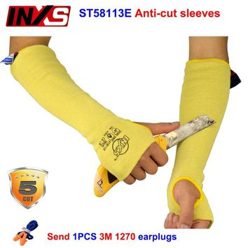 SAFETY-INXS ST58113E Anti-cut sleeves 45cm Flame retardant cut proof gloves Glass treatment Machining Level 5 Safety guard