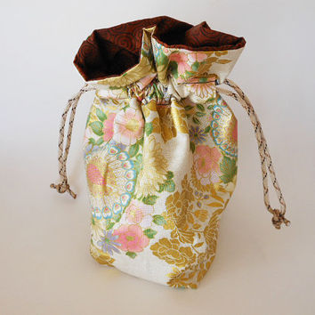 Drawstring Makeup Bag - Peacocks & Pink Flowers - Japanese Fabric - Asian Fabric - Makeup Pouch - Cosmetic Bag - Adorable Little Jewelry Bag