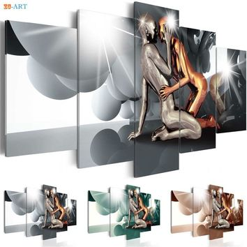 Couple Prints Painting Canvas 5 Pieces Ball  Poster Modern Metallic Abstract Wall Art Modular Pictures Bedroom Home Decor